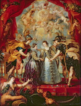 Reprodução do quadro  The Medici Cycle: Exchange of the Two Princesses of France and Spain, 9th November 1615, 1621-25