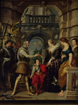 Reprodução do quadro  The Medici Cycle: Henri IV (1553-1610) leaving for the war in Germany and bestowing the government of his kingdom to Marie de Medici (1573-1642) 20th March 1610, 1621-25