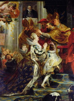 Reprodução do quadro  The Medici Cycle: The Coronation of Marie de Medici (1573-1642) at St. Denis, 13th May 1610, detail of the crowning, 1621-25