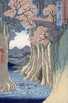 Reprodução do quadro  The monkey bridge in the Kai province, from the series 'Rokuju-yoshu Meisho zue' (Famous Places from the 60 and Other Provinces)