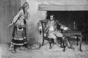 Reprodução do quadro  The Ojibway Maiden Disclosing Pontiac's Plot, engraved by John Tinkey (fl.1871-1901) illustration from 'The City of the Strait' by Edmund Kirke, pub. in Harper's Magazine, 1886