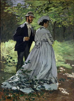 Reprodução do quadro The Promenaders, or Claude Monet Bazille and Camille, 1865