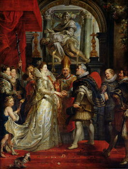 Reprodução do quadro  The Proxy Marriage of Marie de Medici (1573-1642) and Henri IV (1573-1642) 5th October 1600, 1621-25