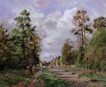 Reprodução do quadro  The road to Louveciennes at the edge of the wood, 1871