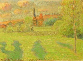 Reprodução do quadro  The shepherd and the church of Eragny, 1889