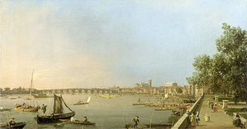 Reprodução do quadro  The Thames from the Terrace of Somerset House, looking upstream Towards Westminster and Whitehall, c.1750