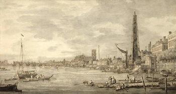 Reprodução do quadro  The Thames Looking towards Westminster from near York Water Gate