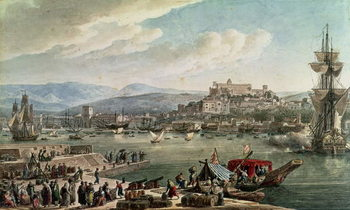 Reprodução do quadro The town and harbour of Trieste seen from the New Mole, published in 1802