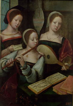 Reprodução do quadro  Three Musicians, c.1500-40