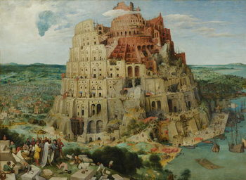 Reprodução do quadro  Tower of Babel, 1563 (oil on panel)