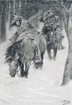 Reprodução do quadro Travelling in Frontier Days, illustration from 'The City of Cleveland' by Edmund Kirke, pub. in Harper's Magazine, 1886