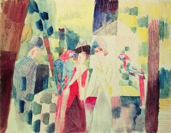 Reprodução do quadro Two Women and a Man with Parrots, 20th century