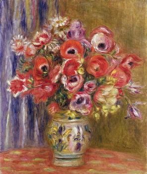 Reprodução do quadro  Vase of Tulips and Anemones, c.1895