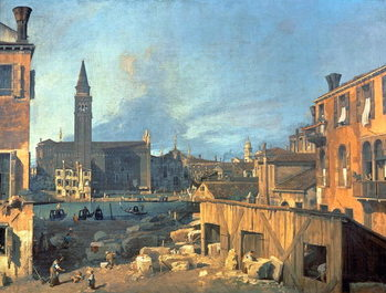 Reprodução do quadro  Venice: Campo San Vidal and Santa Maria della Carita (The Stonemason's Yard) 1727-28