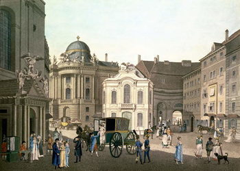 Reprodução do quadro  View of Michaelerplatz showing the Old Burgtheater