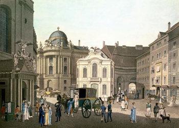 Reprodução do quadro View of Michaelerplatz showing the Old Burgtheater
