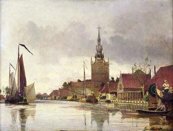 Reprodução do quadro  View of Overschie near Rotterdam, 1856