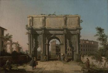 Reprodução do quadro  View of the Arch of Constantine with the Colosseum, 1742-5