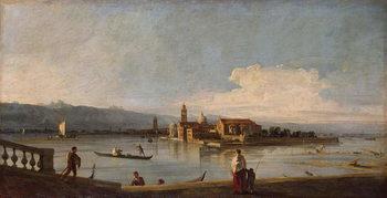 Reprodução do quadro  View of the Isles of San Michele, San Cristoforo and Murano, from the Fondamenta Nuove, c.1725-28