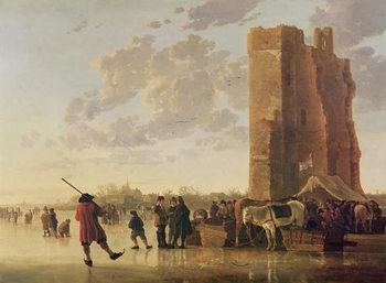 Reprodução do quadro View of the Maas in Winter