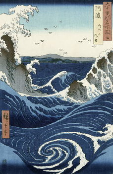 Reprodução do quadro  View of the Naruto whirlpools at Awa, from the series 'Rokuju-yoshu Meisho zue' (Famous Places of the 60 and Other Provinces)