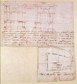 Reprodução do quadro  W.23r Architectural sketch with notes