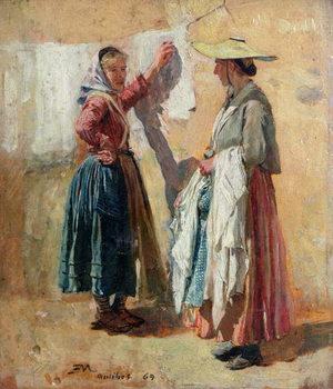 Reprodução do quadro  Washerwomen in Antibes, 1869