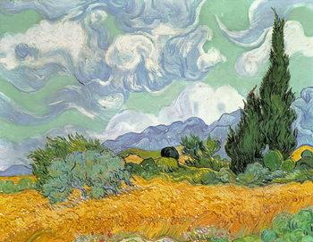 Reprodução do quadro  Wheatfield with Cypresses, 1889