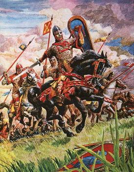Reprodução do quadro  William the Conqueror at the battle of Hastings
