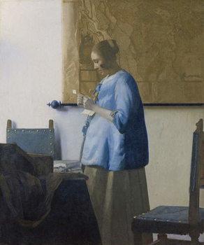 Reprodução do quadro  Woman Reading a Letter, c.1662-63