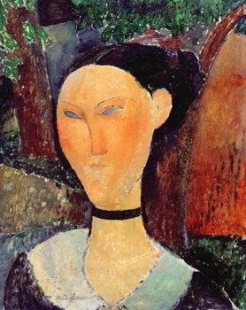 Reprodução do quadro  Woman with a Velvet Neckband, c.1915