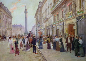 Reprodução do quadro  Workers leaving the Maison Paquin, in the rue de la Paix, c.1900