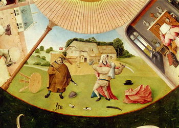 Reprodução do quadro Wrath, detail from the Table of the Seven Deadly Sins and the Four Last Things, c.1480