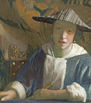 Reprodução do quadro  Young Girl with a Flute, c.1665-70
