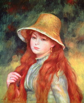 Reprodução do quadro Young girl with long hair, or Young girl in a straw hat, 1884