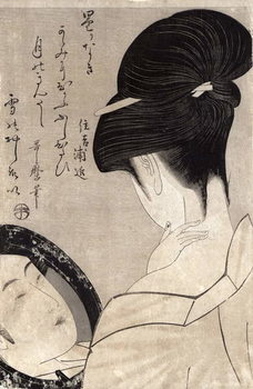 Reprodução do quadro  Young woman applying make-up, c.1795-96 (colour woodblock print)