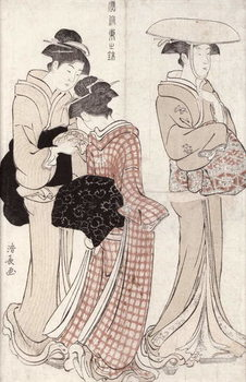 Reprodução do quadro  Young woman wearing a wide straw hat, followed by a servant and a companion carrying a 'furoshiki', from the series 'Fuzoku Azuma no nishiki' (The Fashionable Beauties of Edo) 1783