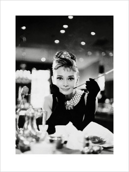 Audrey Hepburn - Tiffany b&w  Reproduction
