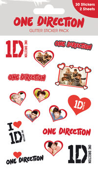 Autocolantes  ONE DIRECTION - hearts with glitter