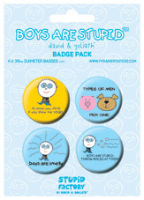 BOYS ARE STUPID Badge Pack