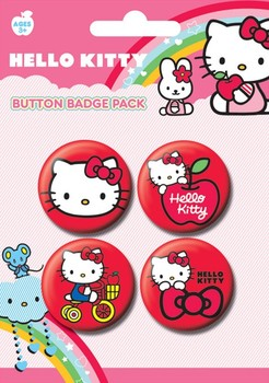 Badge set HELLO KITTY - red