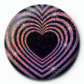 OP HEART - Black and pink Badges