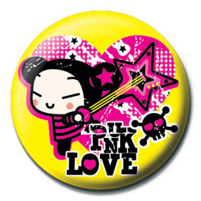 PUCCA - yellow punk love Badge