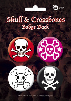 SKULL AND CROSSBONES - 2 Badge Pack