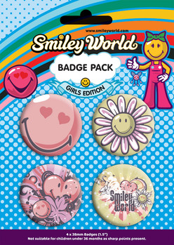Badges SMILEY - girls pack