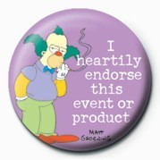 THE SIMPSONS - krusty endorse ... Badge