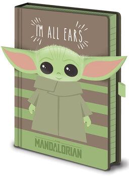 Bloco de notas Star Wars: The Mandalorian - I'm All Ears Green