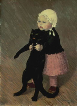 A Small Girl with a Cat, 1889 Canvas Print