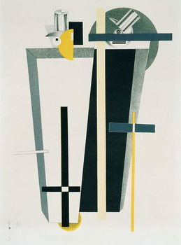Abstract composition in grey, yellow and black Canvas Print