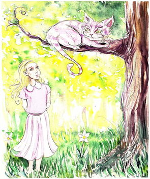 Alice and the Cheshire Cat - illustration to  Lewis Carroll 's 'Alice's Adventures in Wonderland' , 2005 Canvas Print